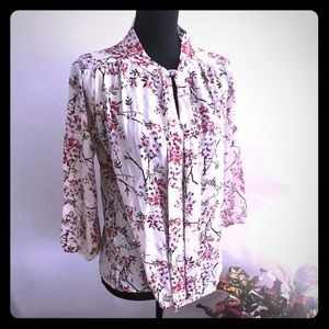 NWT Jon & Anna floral blouse with tie neck Small